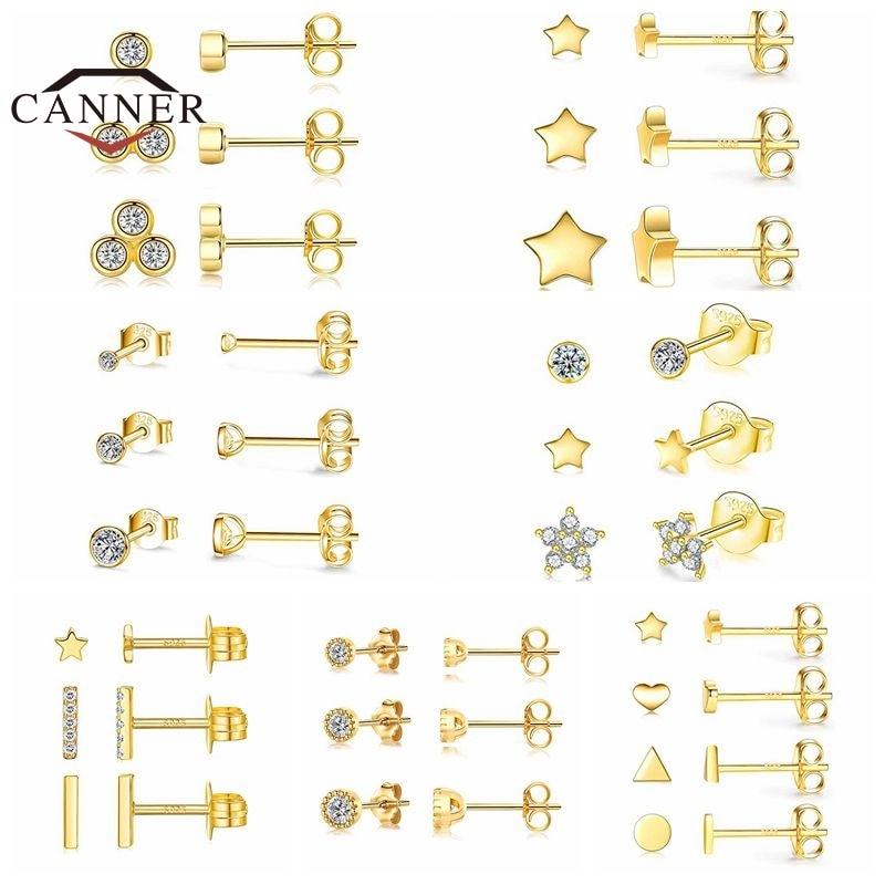 AliExpress - CANNER 3pcs/set 925 Sterling Silver 5A Zircon Stud Earrings For Women Piercing Earring Earings Jewelry Ear Buckle Pendientes