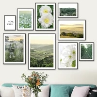 mountain forest white peony flower quote wall art canvas painting nordic posters and prints wall pictures for living room decor