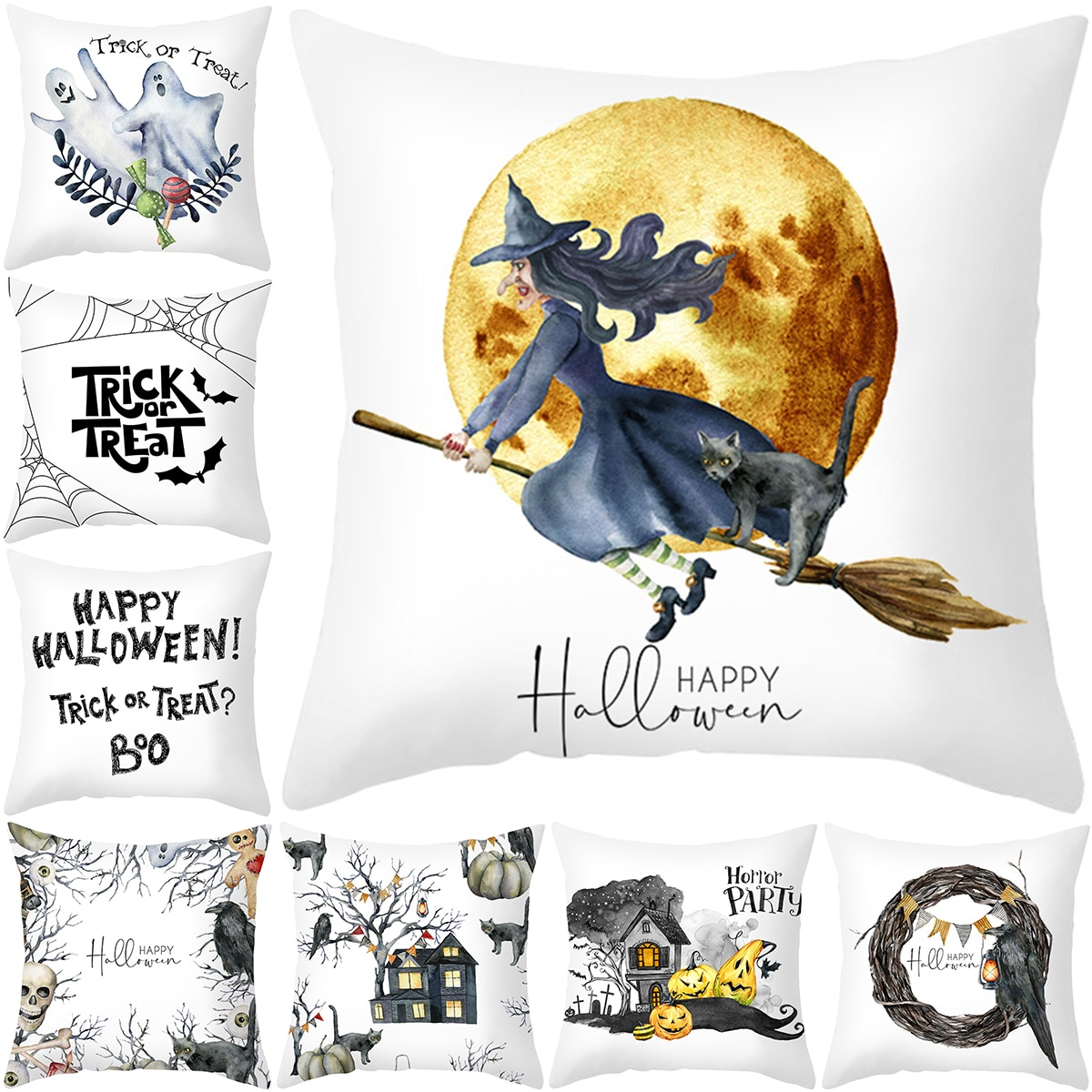 Zerolife Halloween Decoration For Home Cartoon Pumpkin Bat Ghost Pillowcase Horror Halloween Party Supplies Accessories Ornament halloween cartoon doll pumpkin witch cat party ideal decoration for club bar shop home showcase bar table shelf holiday decor