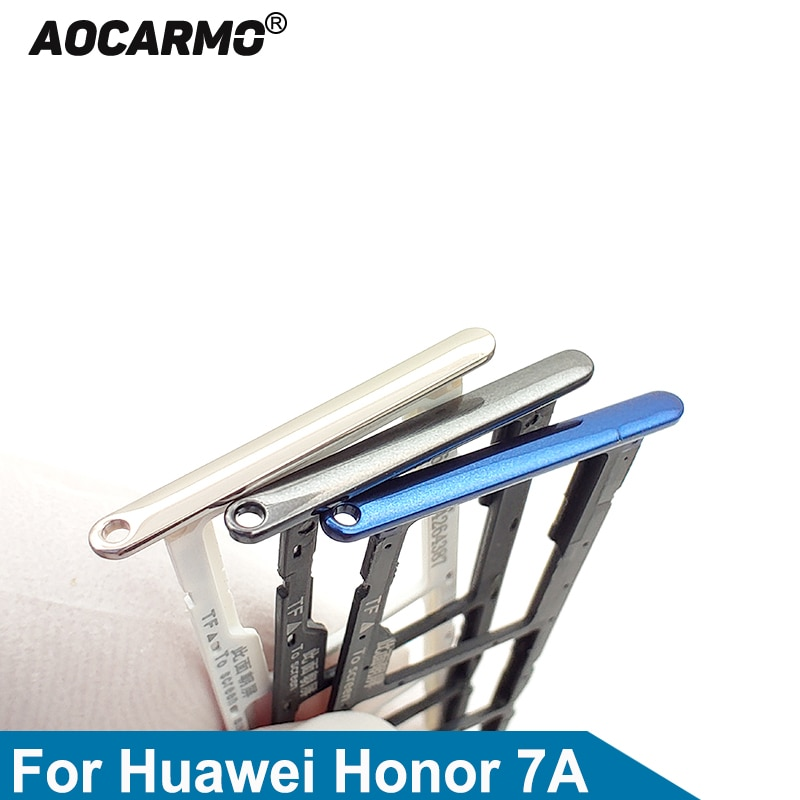 Aocarmo SD MicroSD Holder Nano Sim Card Tray Slot For Huawei Honor 7A Replacement Part