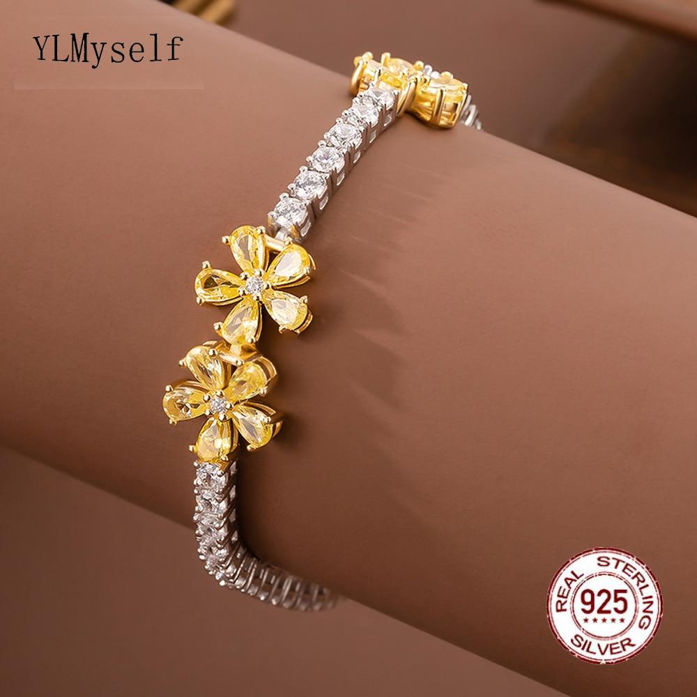 الصلبة الفضة 15-18 سنتيمتر سوار للتنس 2 لهجة الأبيض/الأصفر زهرة مجوهرات هدية تمهيد الإعداد 3 مللي متر الزركون الحقيقي 925 غرامة مجوهرات