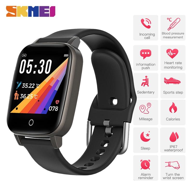 Reloj Digital SKMEI para hombre, para medir la temperatura corporal, Monitor de ritmo cardíaco, reloj deportivo para hombre, reloj Masculino T1