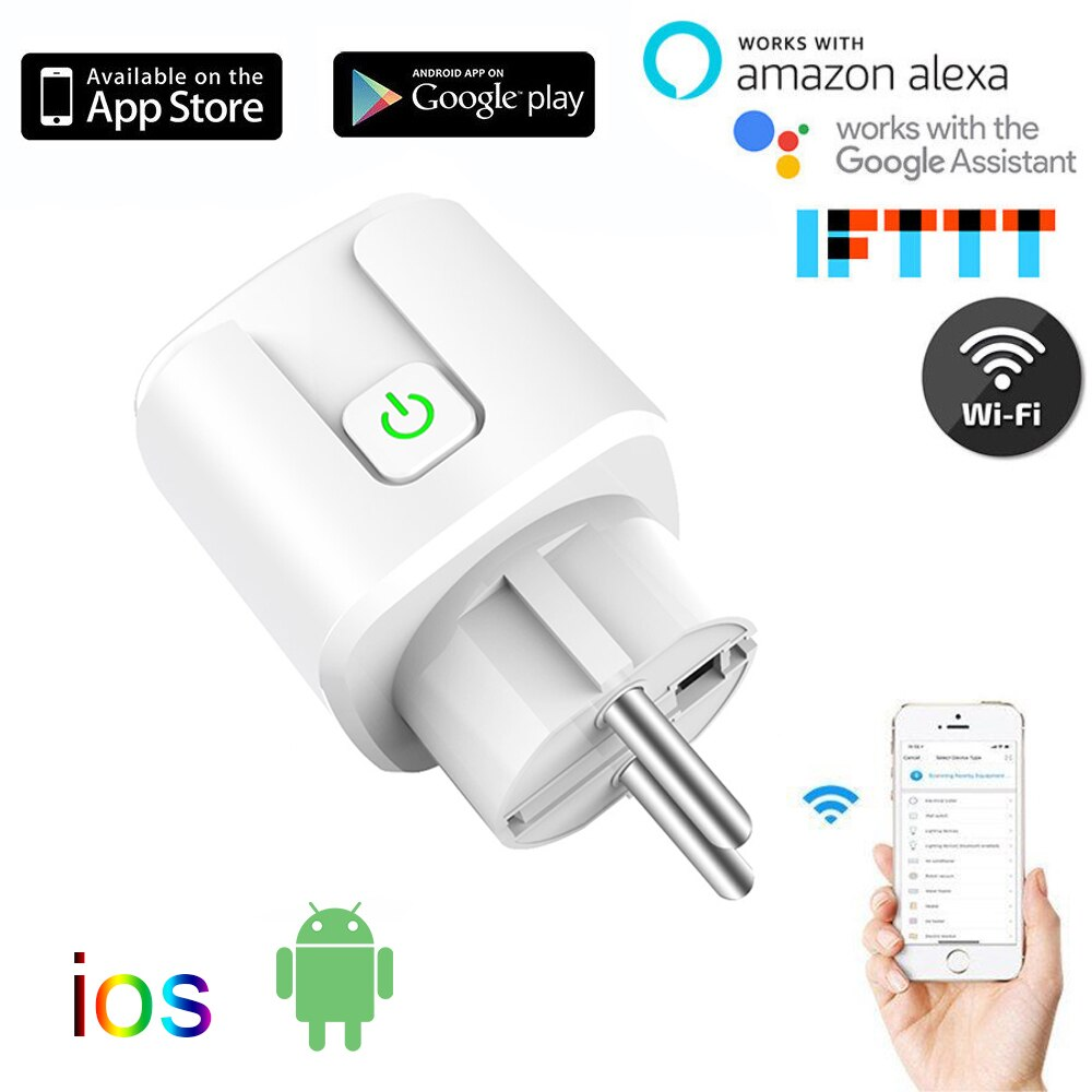 Alexa 10A 16A EU RGB Wifi Smart Plug  Power Socket  Wifi Wireless Smart Socket Outlet With Google Home Alexa Voice Control