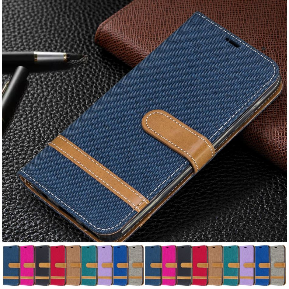 Cute Denim Leather Case For Samsung Galaxy S20 FE S21 S30 Note 20 Ultra S7 Edge S10 Plus A51 A71 A21S A42 Boys Girls Cover D07F