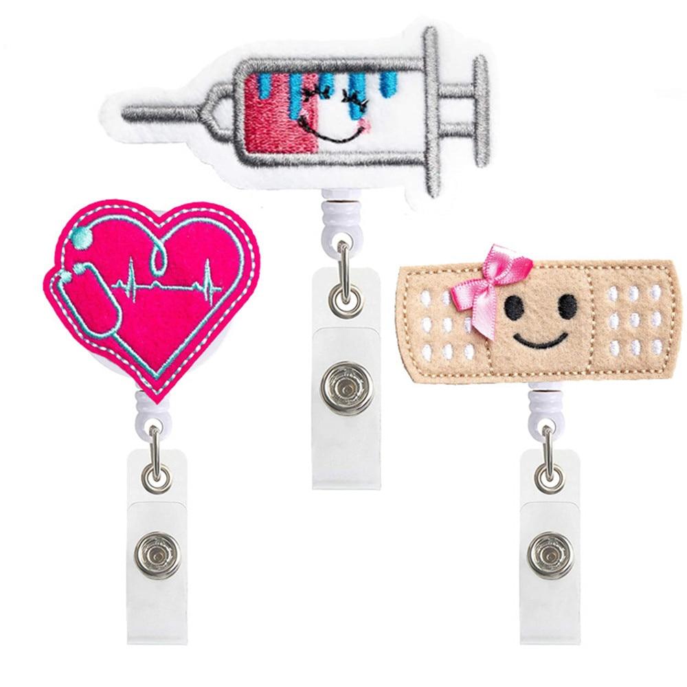 1PCS Cute Retractable Nurse Badge Reel Clip Badge Holder Students Doctor ID Card Holder Kawaii Needle Organ Heart Pattern