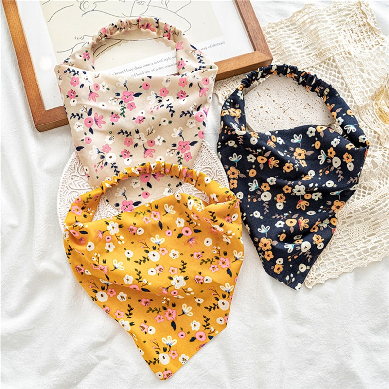 Vintage Triangle Bandanas Hairband Printting Hair Scarf Scrunchies Headband Without Clips Elastic Ha