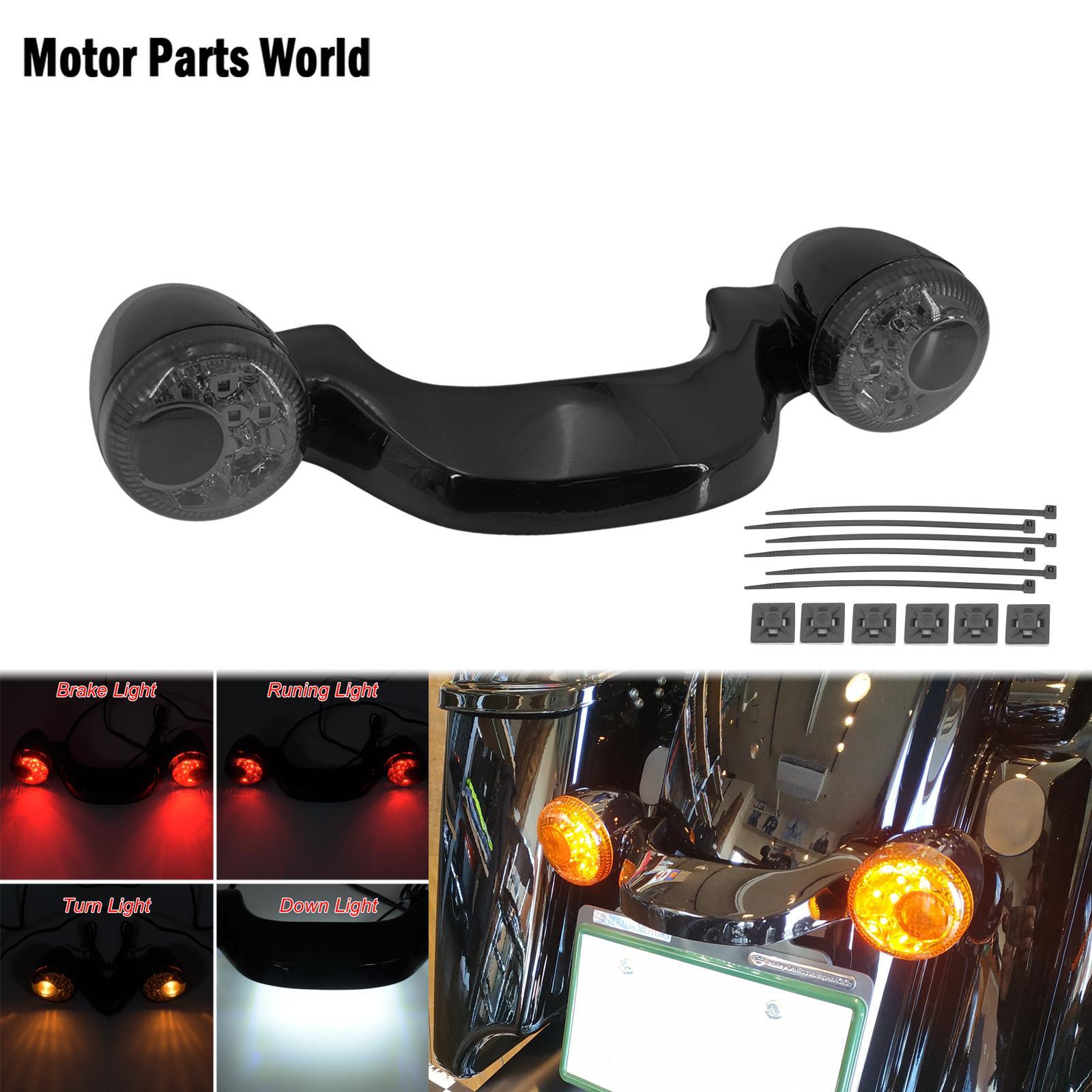 مصباح فرامل خلفي LED للدراجات النارية ، شريط إشارة الانعطاف ، أسود لامع ، لـ Harley Touring Street Glide FLHX Road Glide FLTRX 2010-2019