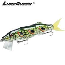 50g 19cm lureceen grande 4-segmentos de pesca iscas minnow crankbait 3d olhos vida-como a cauda swimbait articulado hard bait wobbler