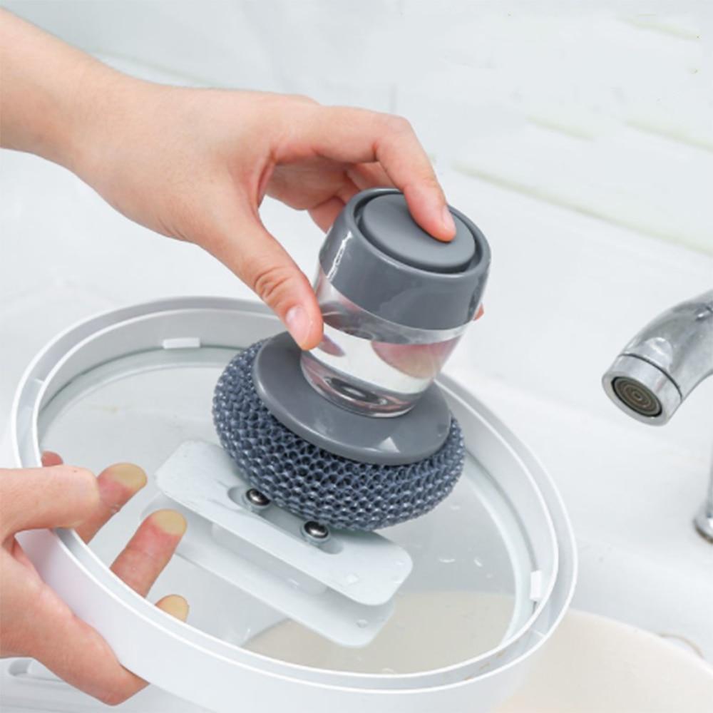 Multifunctional Pressing Cleaning Brush Built-in Liquid Storage Tank Kitchen Dishwashing Pot Brush Kitchen Cleaning Tool
