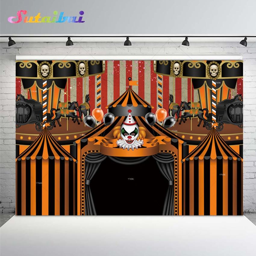 Фон для фотографий Хэллоуин Карнавал клоун ужас жуткий страх