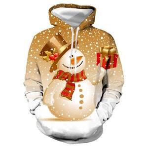 Unisex Christmas Golden Snowman 3D Digital Print Loose Hooded Sweater Pullover Women Men New Year Baseball Sweatshirt Hoodie