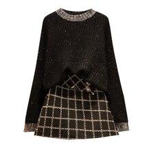 Grande taille dames nouveau kit dhiver noir pull grille jupe étincelle épais pull deux pièces ensemble de vêtements loisirs costumes tenue