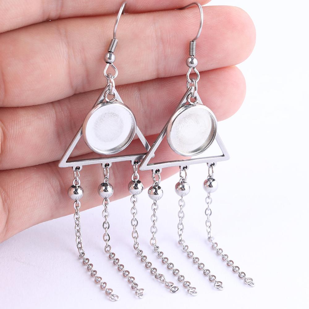6 piezas de acero inoxidable triángulo marco cadena borla encanto pendiente hallazgos 12mm cabujón base ajuste en blanco accesorios diy