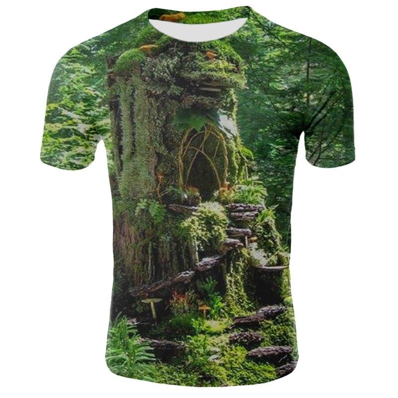 Мужская и женская футболка Milk silk, футболка с 3D-принтом природы, пейзажа, коротким рукавом и о-вырезом, 3D, неба, травы, дерева