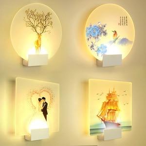 LED Wall Lamp Acrylic Bedroom Wall Bedside Lamp Hotel Modern Simple Living Room Interior Wall Painting Creative Corridor Lamp