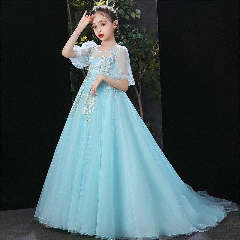 Vestido largo de princesa de fiesta de cumpleaños de noche de diseño exquisito de lujo de flores con apliques para niñas vestido de Piano de anfitrión para niños