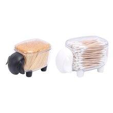1PC Transparent organisateur coton-tige boîte de rangement organisateur acrylique coton tampon boîte de rangement cosmétique boîte en plastique salle de bain