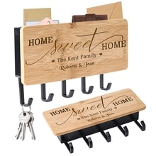Personalized Customized Name Wood Key Hanger for Wall Practical Household Hook Door Back Holders Accessories New Home Decoration