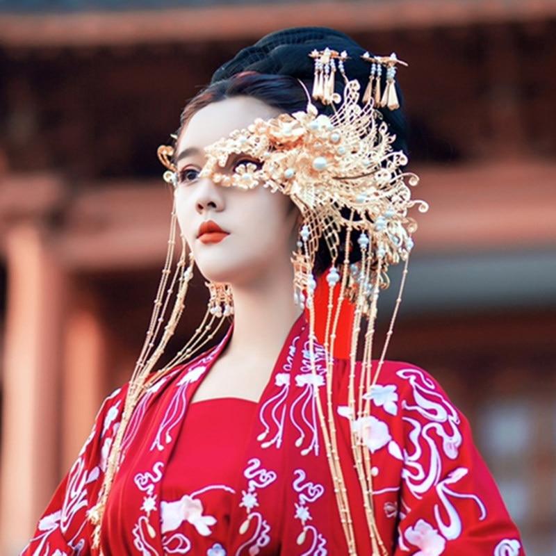 Xinhuaeasy Hanfu غطاء الرأس نصف قناع ماكياج الوجه القديمة زي اطلاق النار العتيقة مجوهرات الذهب والفضة الجنية الجمال الحرف اليدوية