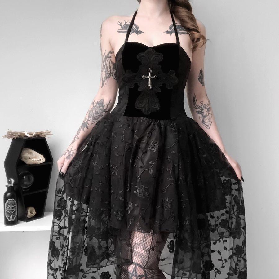Darkinlove vestido de mujer Goth multicapa negro Floral encaje vestido Sexy Sling A-Line fiesta verano vestido sin mangas