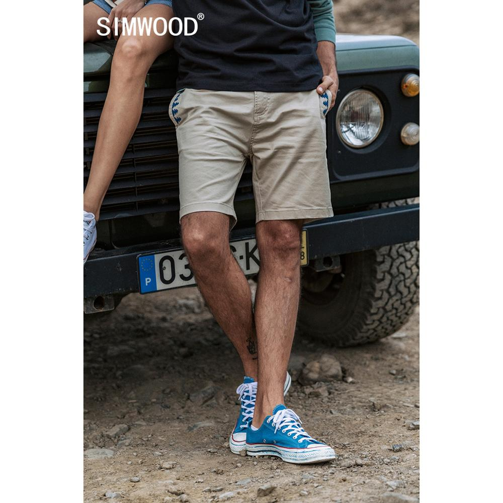 SIMWOOD 2020, novedad de verano, pantalones cortos embellecidos bohemios para hombres, pantalones cortos lavados enzimáticos de algodón 100%, pantalones cortos informales hasta la rodilla de talla grande SJ170152