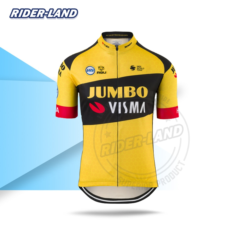Nueva camiseta de manga corta para ciclismo JUMBO VISMA 2020 Champion Race Tops camiseta de verano transpirable Triatlón de secado rápido