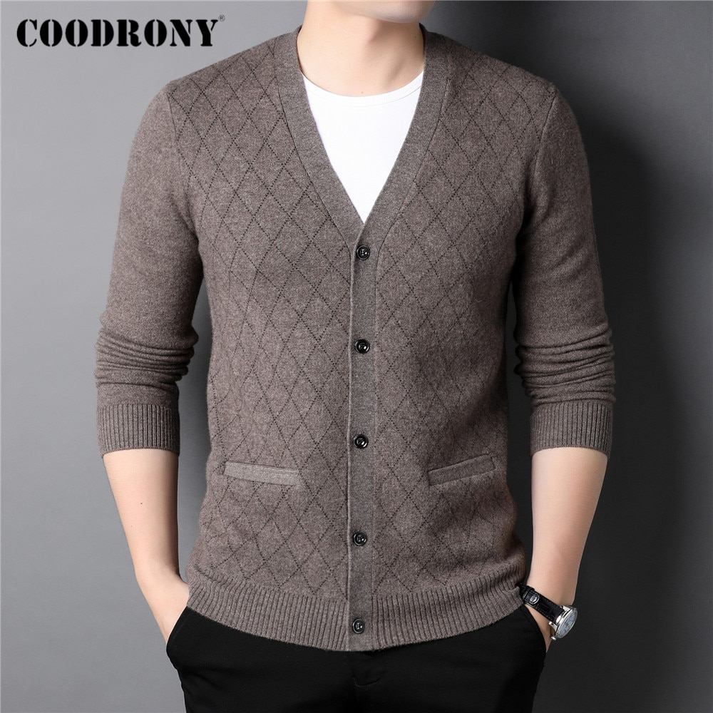 COODRONY Thick Warm Winter Sweater Coat Men Clothing Fashion Casual Cashmere 100% Pure Merino Wool Knitted V-Neck Cardigan C3145