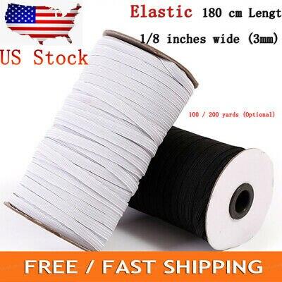 """Elástico 1/8 """"ancho ~ 3mm trenzado banda elástica cordón tejido banda costura 100/200Yards US Stock"""