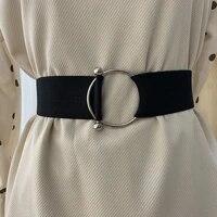wide elastic belt solid color corset belt metal buckle lady fashion cummerbands stretch cinch waistband dress waist belt