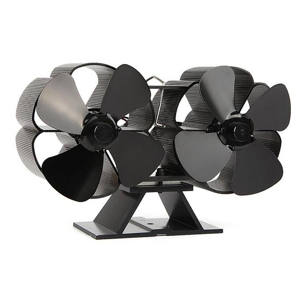 مزدوج برأس الموقد 4 شفرات تعمل بالطاقة الحرارية موقد مروحة سجل الخشب الموقد صديقة للبيئة هادئة مروحة المنزل كفاءة توزيع الحرارة