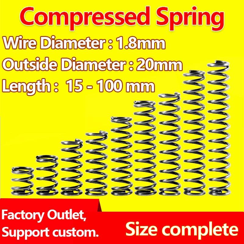 Diâmetro comprimido 1.8mm do fio da mola do retorno da mola da pressão da mola da liberação, serviços feitos sob encomenda do diâmetro exterior 20mm