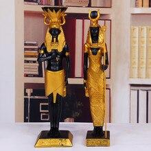 2 Stks/set Oude Egypte God Farao God Van Oorlog Standbeeld Hars Ambachten Cleopatra Art Sculptuur Thuis Desktop Decoratie Souvenir R2915