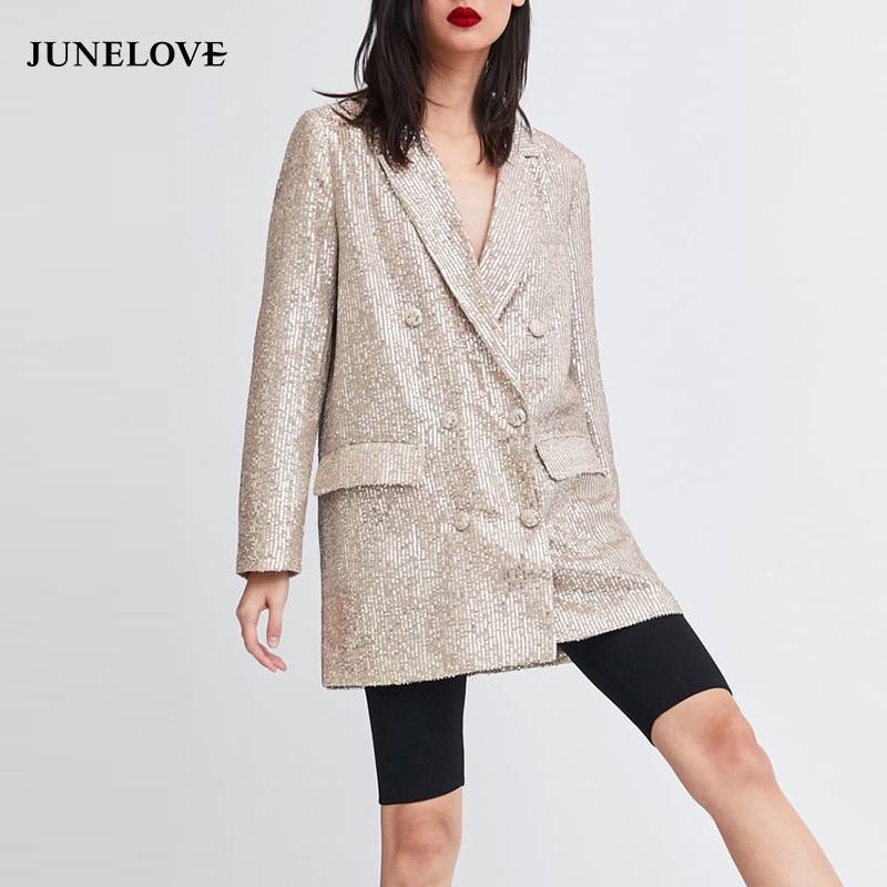 JuneLove nueva primavera de manga larga con lentejuelas Blazer Vintage mujer doble botonadura Blazer Casual bolsillos muescas señora Outwears