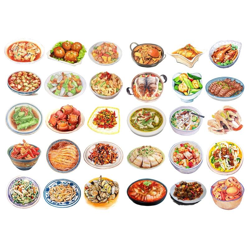 1 PCS Chinese Dinner Food Cook It Menu Precut Aesthetic Bullet Journal Stickers Scrapbook Stationery Sticker School Art Supplies
