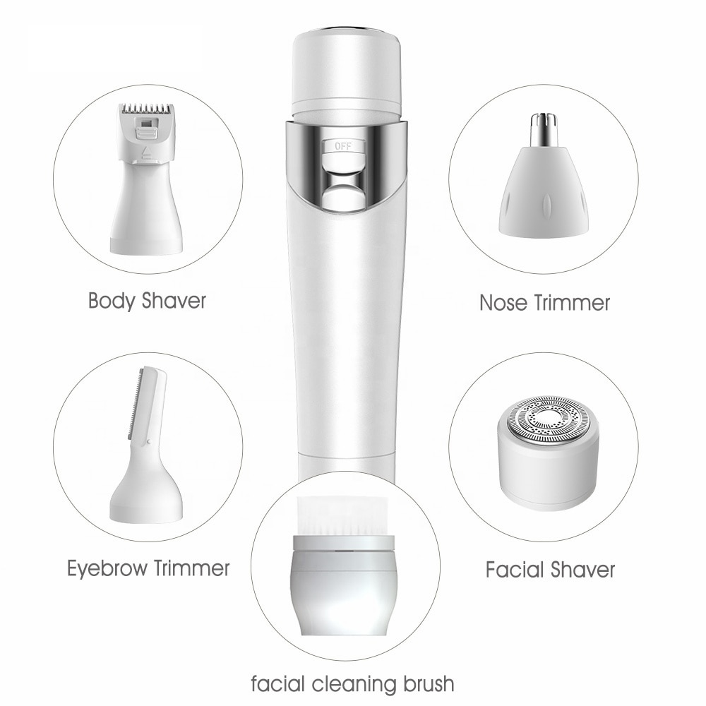 5 in 1 Womens Electric Razor Painless IPX4 Waterproof Bikini Trimmer Facial Brush Nose Trimmer Eyebrow Trimmer Body Shaver enlarge