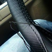 Black 37-38cm DIY Car-Styling Auto PU Leather Car Steering Wheel Covers With Needles and Thread Inte