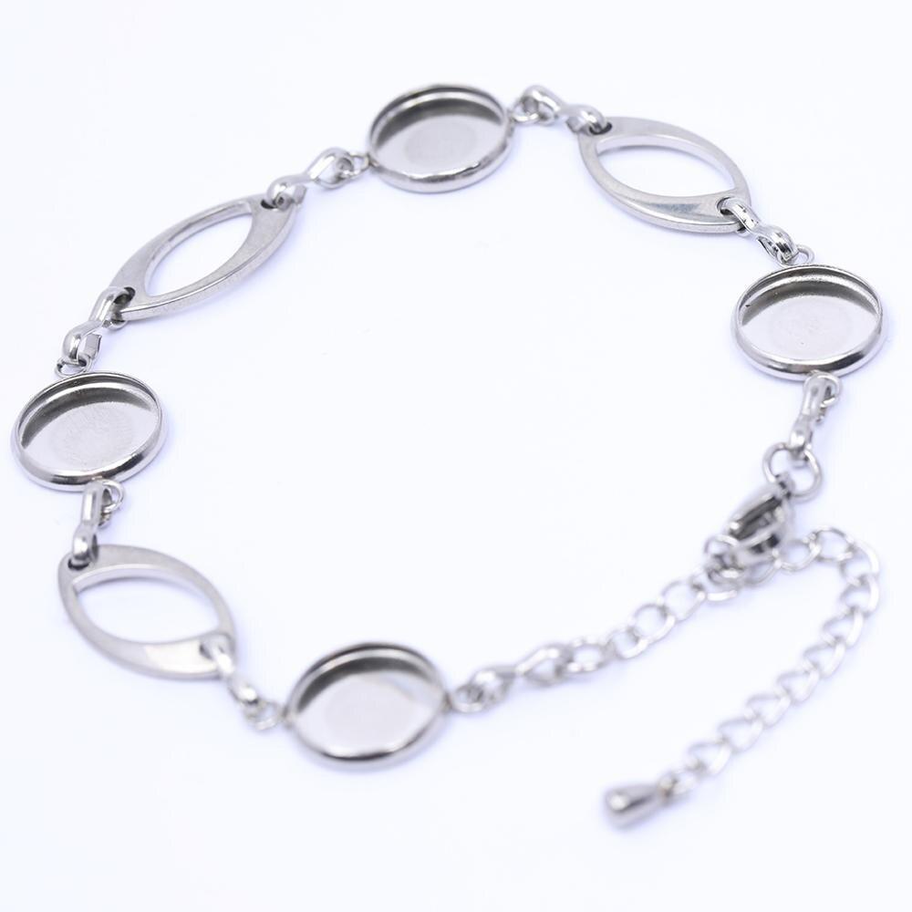 5pcs stainless steel 10mm round cabochon bracelet base diy bezel bracelets blank setting trays for jewelry making