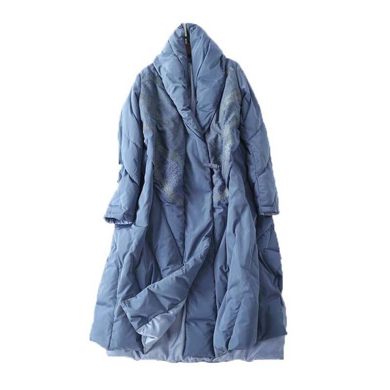 Женские пуховые пальто с роговыми пуговицами и вышивкой, белые пуховые пальто высокого класса, черные, синие, средней длины, свободная зимня...