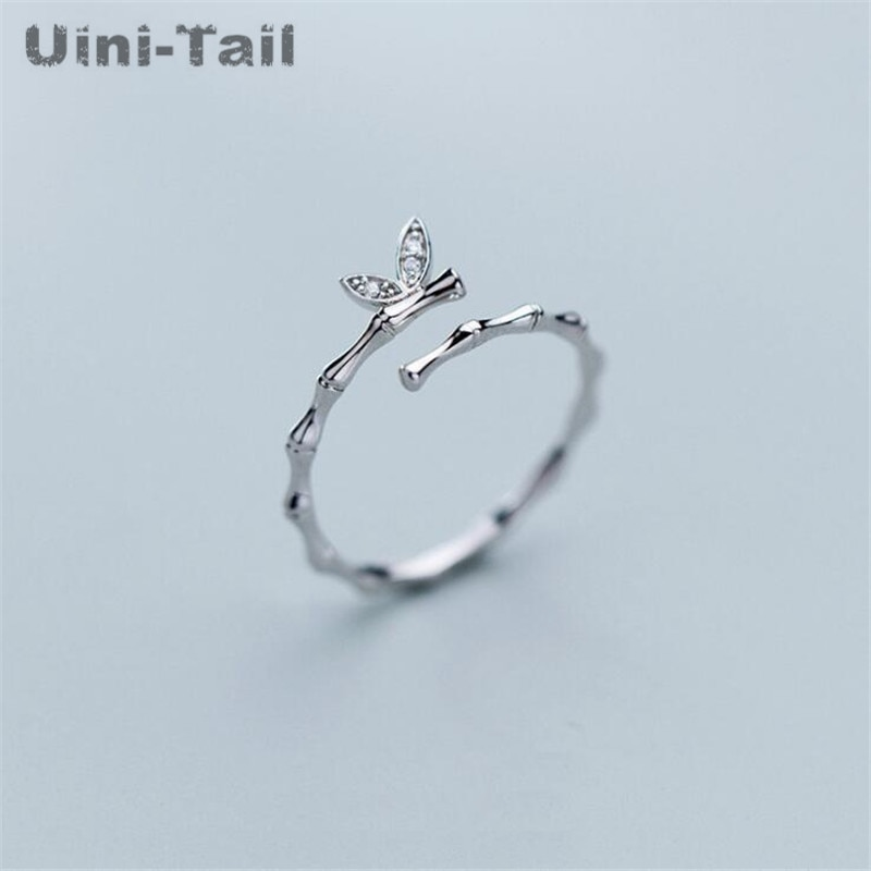 Uini-tail quente novo 925 sterling silver temperamento ramos doces folhas micro-incrustado anel tendência da moda personalidade de alta qualidade