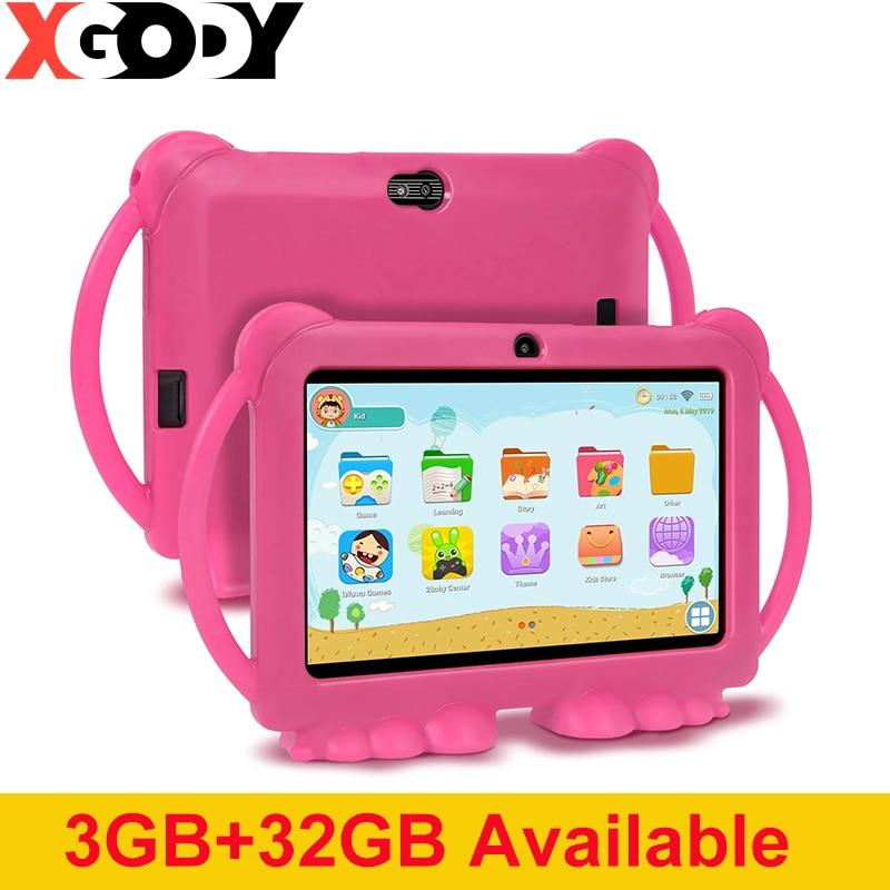 XGODY الأطفال تعلم التعليم اللوحي 3 جيجابايت 32 جيجابايت الاطفال اللوحي 7 بوصة HD مع غطاء من السيليكون USB تهمة رباعية النواة