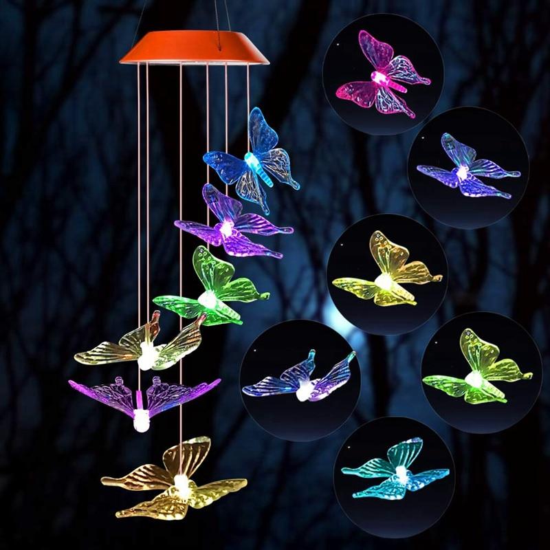 Новый колокольчик ветра, солнечный светильник s Chimes, бабочка колокольчики ветра СИД/солнечный колокольчик ветра открытый декор, Дворовые ук...