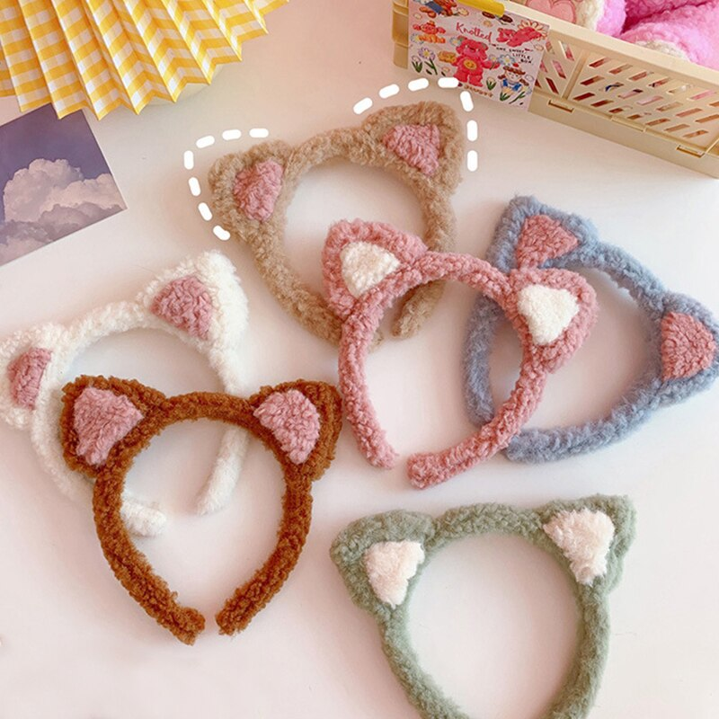 Korea Simple Hairbands Soft Cute Cat Ears Face Wash Makeup Mask Facial Hair Tie Headband for Women G