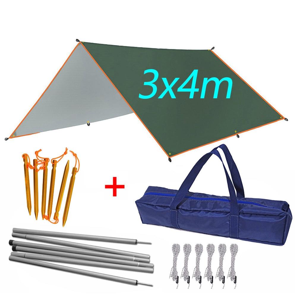 3mx3m 3mx4m Awning Waterproof Tarp Tent Outdoor Camping Sun Shelter Canopy Sunshade Sun Shade Beach Garden Picnic Tourist Tarp