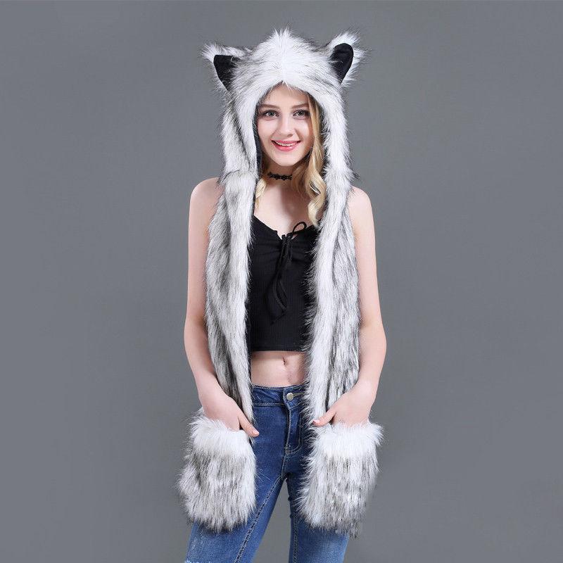 Felpudo fofo feminino inverno animal lobo gato orelha chapéu beanies com luvas de pelúcia gorro