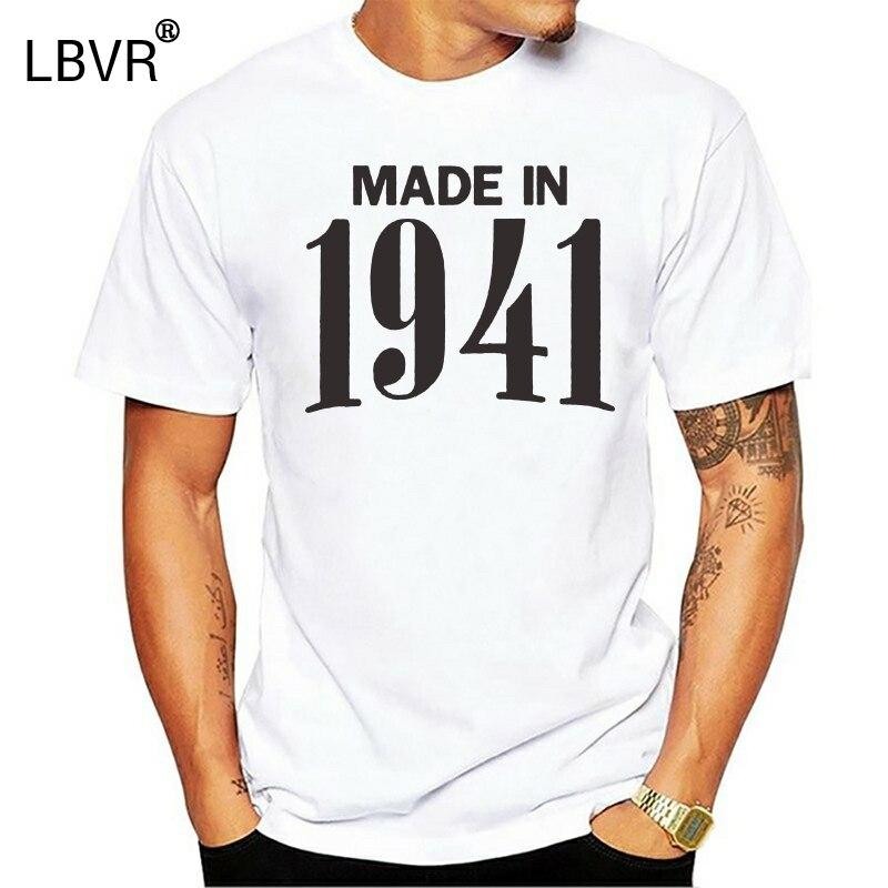 Made In 1941 75th Birthday Gift Idea Retro Cool T-Shirt Novelty Present Men T Shirt Print Cotton Short Sleeve T-shirt