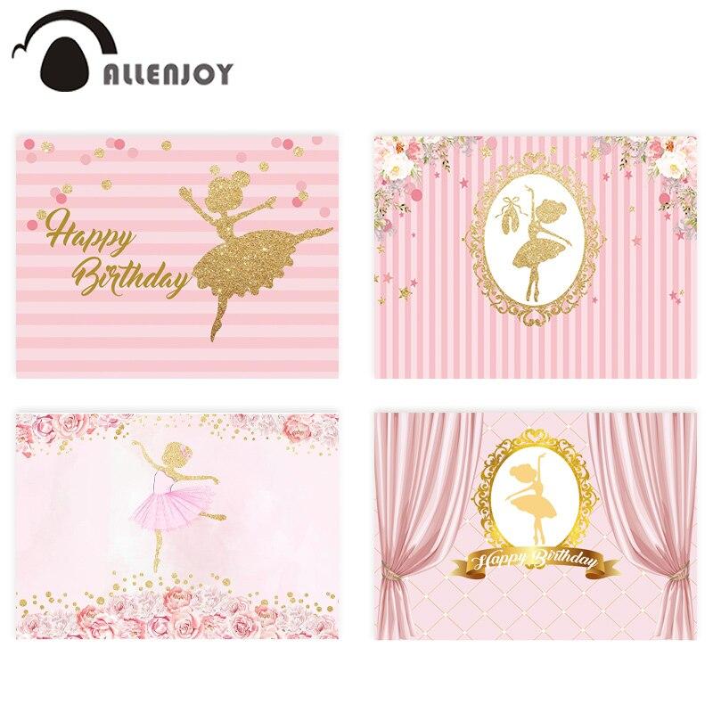 Fondo de Allenjoy photophone, cumpleaños, niña, ballet, flor dorada, rayas rosadas, Fondo de fotografía, Princesa, bautismo, fiesta, decoración