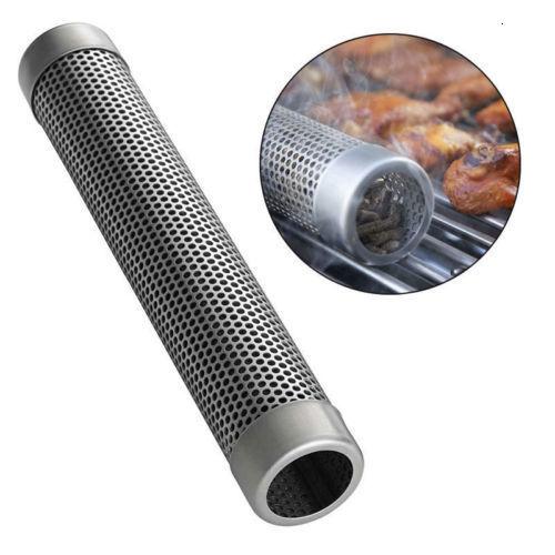 "6"" /12"" Stainless Steel Pellet Smoker Tube Mesh Pipe Kitchen Outdoor Cooking BBQ Tools Accessories Round Smoke Generator Smoker"