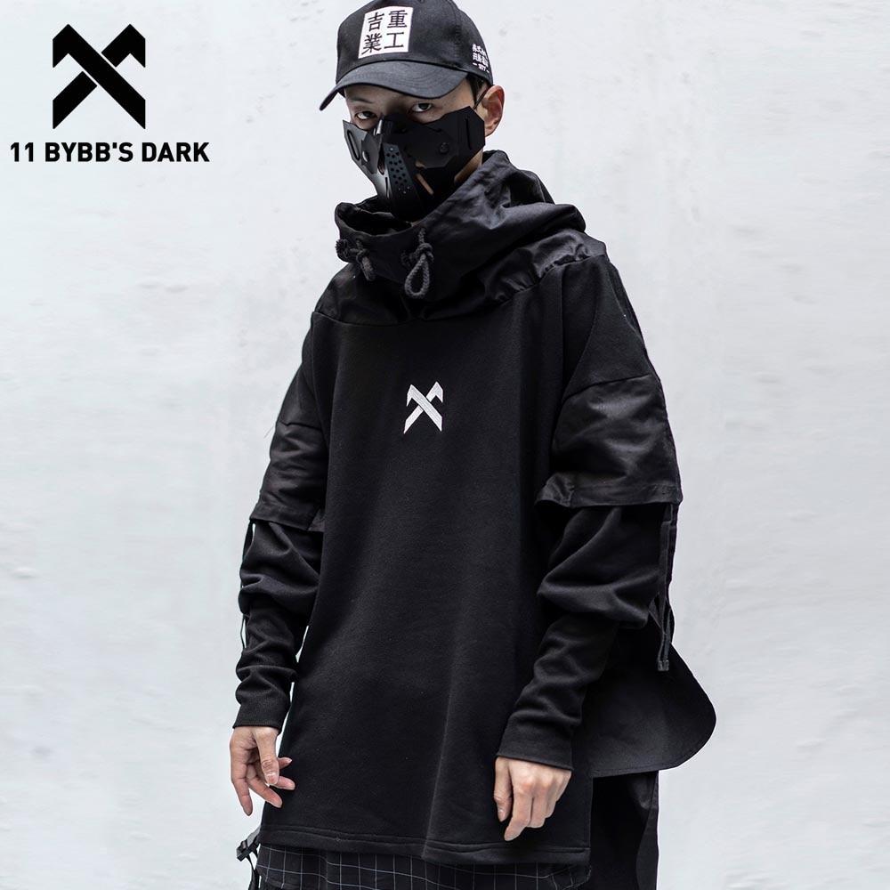 11 BYBB'S DARK Japanese Streetwear Man Hoodies Hip Hop Embroideried Pullover Patchwork Fake Two Darkwear Tops Techwear Hoodies