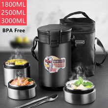 3000ML Large Capacity Stainless Steel Thermal Lunch Box Multi-layer Portable Food Storage Container