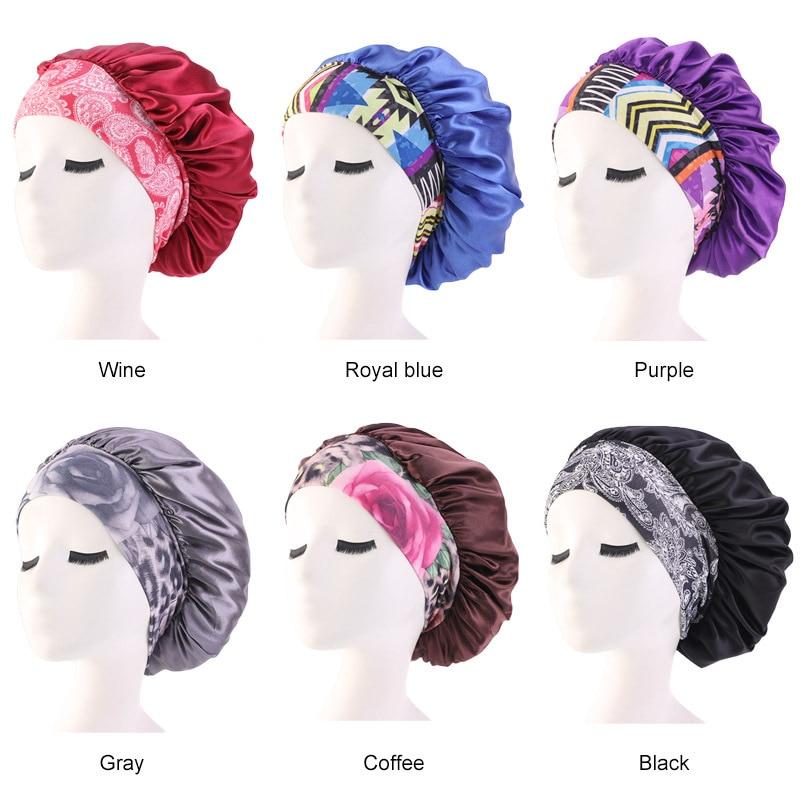 Nueva Banda elástica de satén para el cabello, gorra de noche para mujeres, gorra para quimioterapia de salón de belleza, gorra de moda cómoda de Color sólido